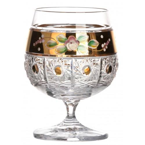 500K Arany brandy kristálypohár, áttetsző kristály színű, űrmértéke 250 ml