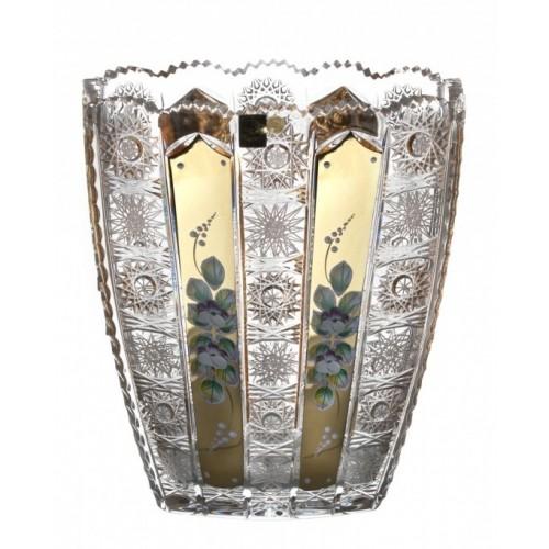 500K Arany kristályváza, áttetsző kristály színű, magassága 255 mm