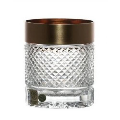 Arany matt whiskys kristálypohár, áttetsző kristály színű, űrmértéke 320 ml