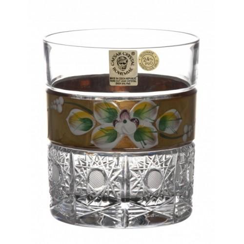 Arany whiskys kristálypohár, áttetsző kristály színű, űrmértéke 320 ml