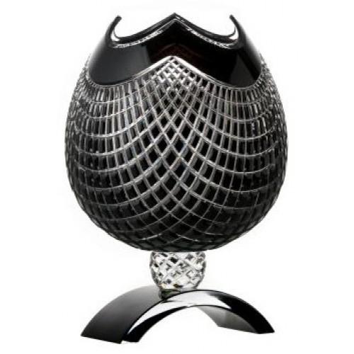 Quadrus kristályváza, fekete színű, magassága 316 mm