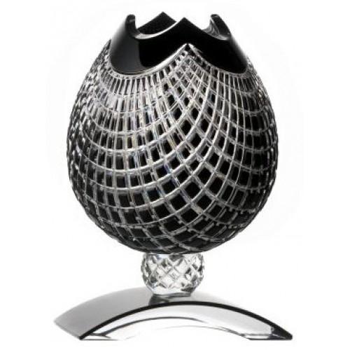 Quadrus kristályváza, fekete színű, magassága 181 mm