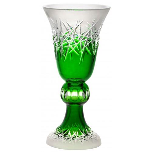 Hoarfrost kristályváza, zöld színű, magassága 355 mm