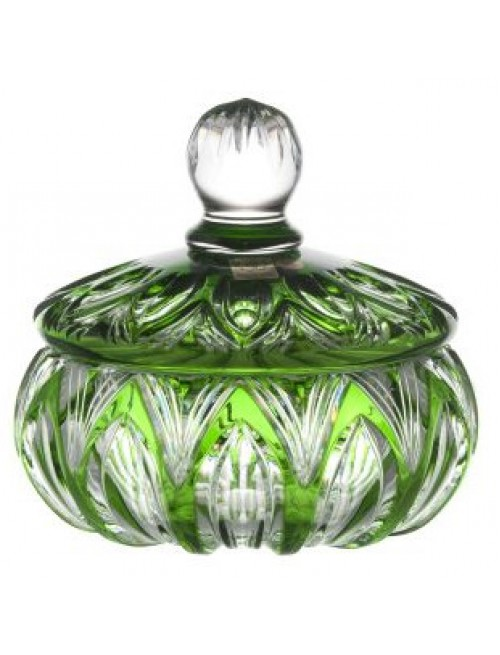 Lotos kristályurna, zöld színű, magassága 165 mm