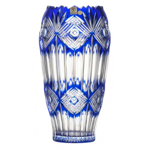 Mary kristályváza, kék színű, magassága 255 mm