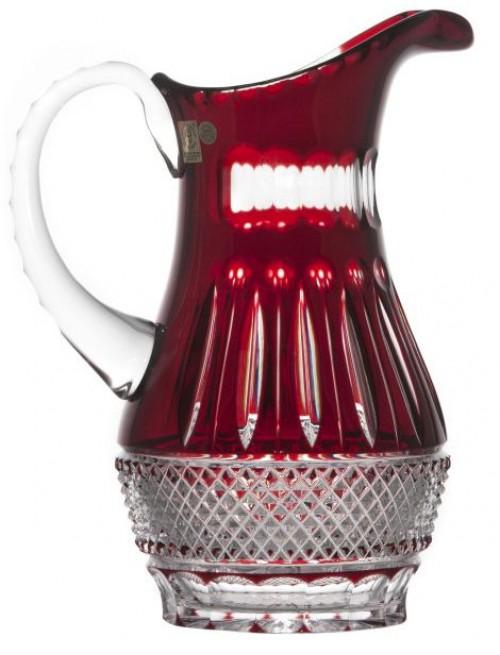 Tomy kristálykancsó, rubinvörös színű, űrmértéke 1300 ml