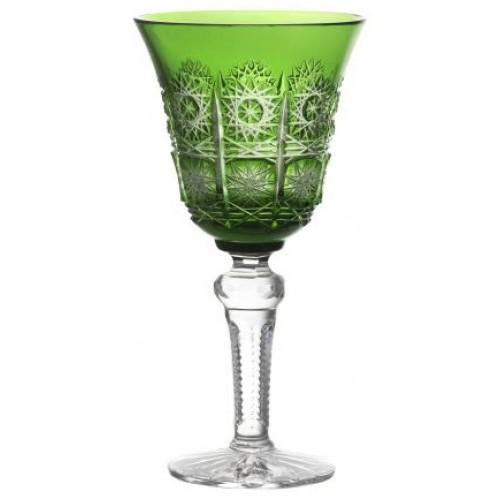 Paula kristály borospohár, zöld színű, űrmértéke 240 ml