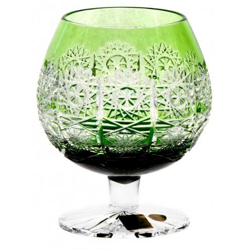 Brandy Paula kristálypohár, zöld színű, űrmértéke 300 ml
