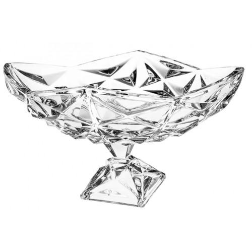 Piramis kristály dísztál, áttetsző kristály színű, átmérője 380 mm