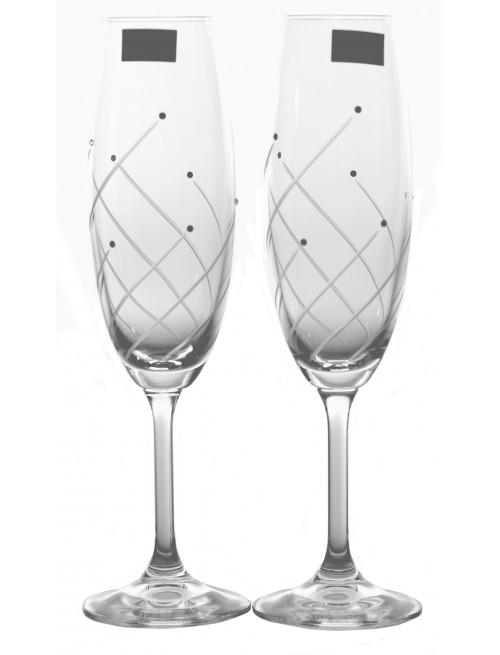 Klára borospohár készlet 2x, áttetsző üveg - ólommentes, díszített, űrmértéke 220 ml