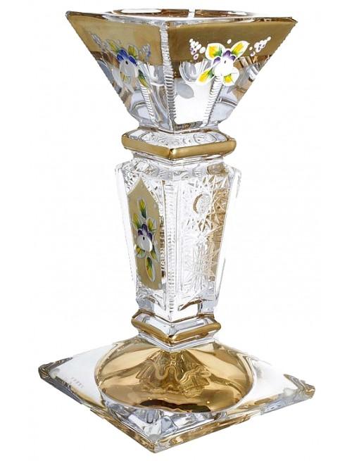 500k arany gyertyatartó, ólommentes krisztallit, magassága 205 mm