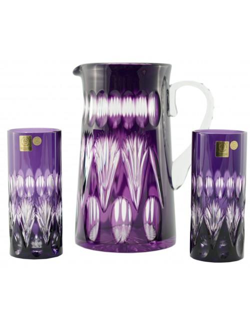Zora kristály szett, lila színű, űrmértéke 1450 ml + 2x350 ml