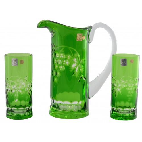 Grapes kristály szett, zöld színű, űrmértéke 900 ml + 350 ml