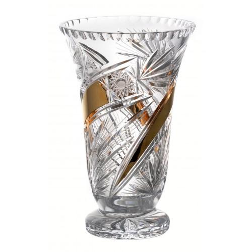Üstökös Arany kristályváza, áttetsző kristály színű, magassága 305 mm